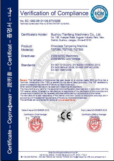 CE Certification of chocolate tempering machine