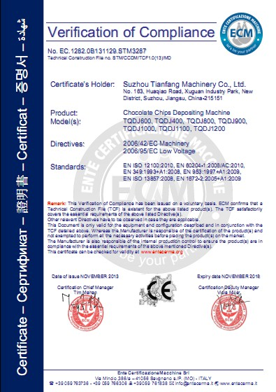 CE Certification of chocolate chips depositing line