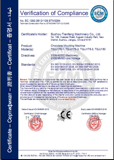 CE Certification of chocolate mouldling line